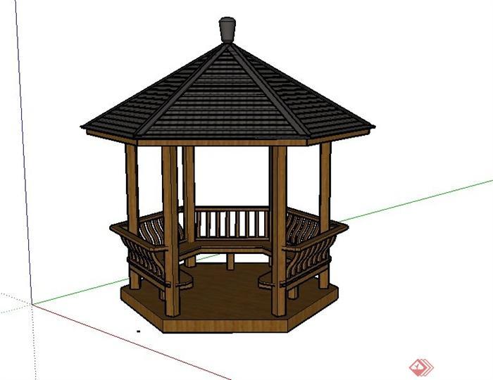 某古典中式木制六角亭设计su模型(1)