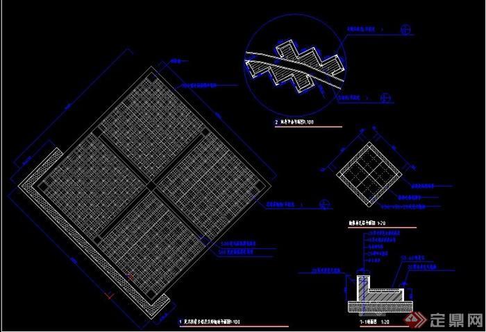 园林景观道路广场、字体铺装v道路CAD施工图cad英文宋体的节点图片