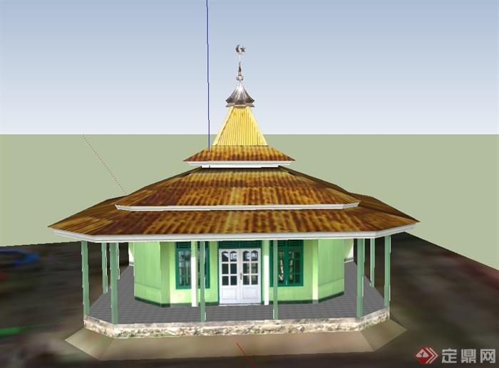 某单层塔式寺庙建筑设计su模型