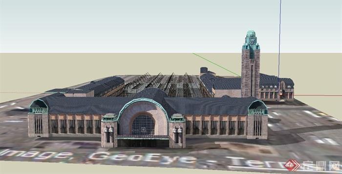 某欧式两层火车站建筑设计su模型