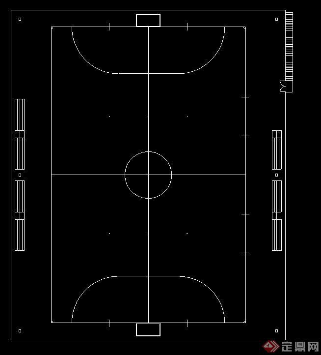 5人制足球场&篮球场设计CAD平面图(1)