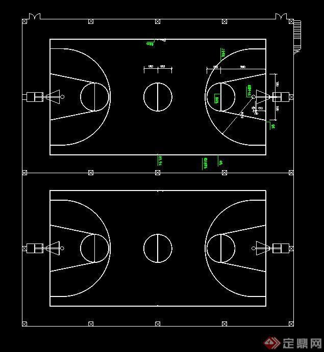 5人制足球场&篮球场设计cad平面图