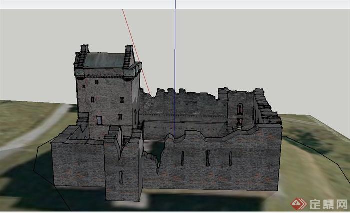 某欧式古建筑遗址废弃墙体设计su模型