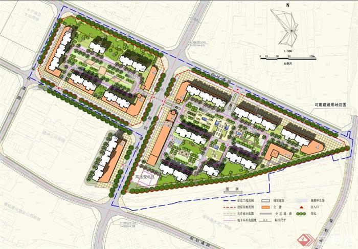 现代某住宅小区景观规划设计psd平彩图[原创]