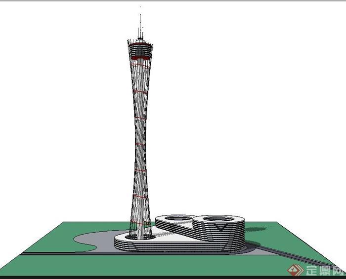 现代某超高层信号塔建筑设计su模型