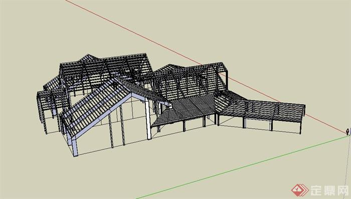 某建筑框架结构设计su模型