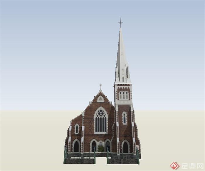 某欧式风格单层教堂建筑设计su模型(1)