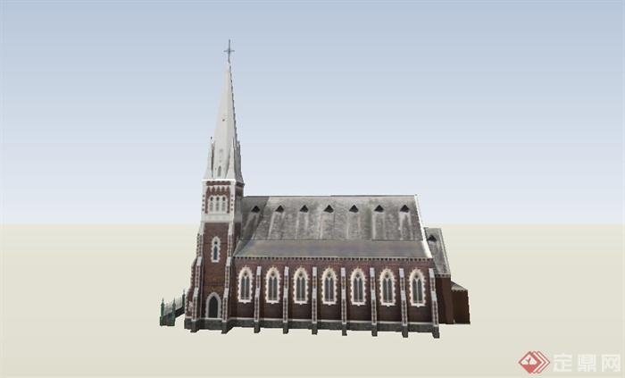 某欧式风格单层教堂建筑设计su模型