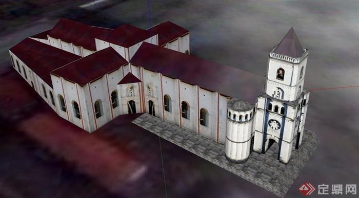 某欧式城堡建筑设计su贴图模型