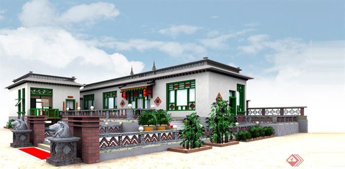 民居,民宅,住宅建筑,住宅景观,居住建筑,全景图,效果图,现代中式风格图片