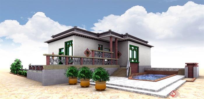 民居,民宅,住宅建筑,居住建筑,全景图,效果图,现代中式风格图片