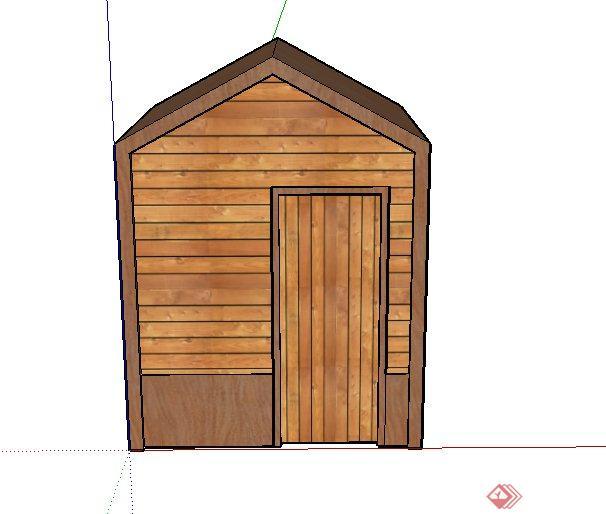 某木制狗舍建筑设计su模型