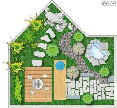 多个庭院景观设计-园路汀步木平台水池草坪庭院景观