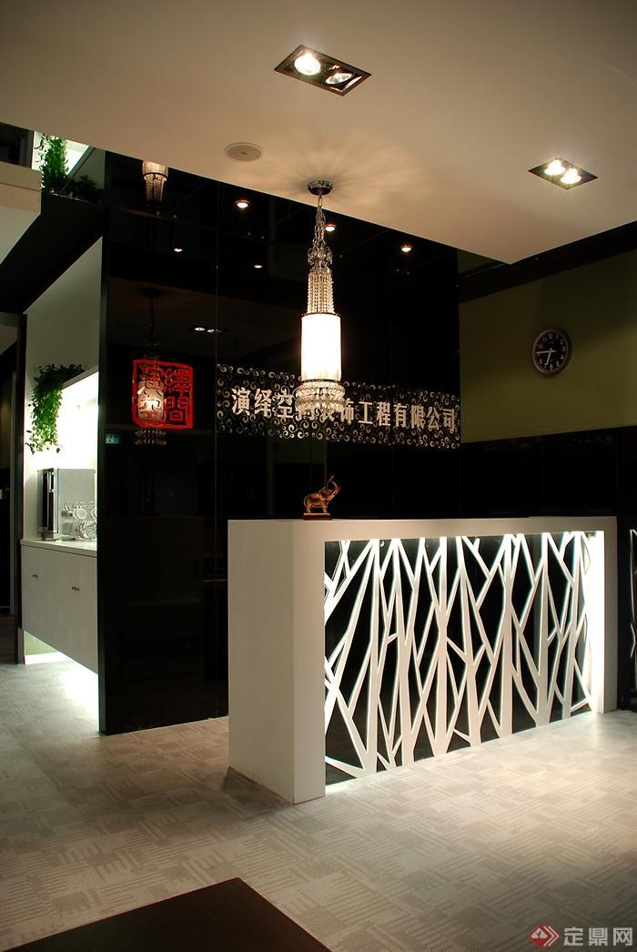 办公空间,形象墙,前台,展示柜