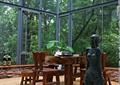 茶桌椅,雕像,吊扇,落地窗
