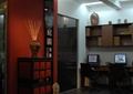 办公空间,形象墙,边柜,办公桌,摆件,置物架
