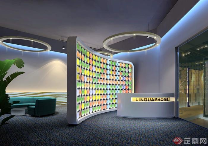前台,背景墙,沙发,接待区,办公空间,吊灯