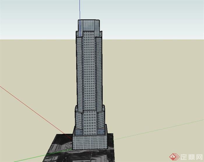 某现代高层方形基座办公建筑设计su模型