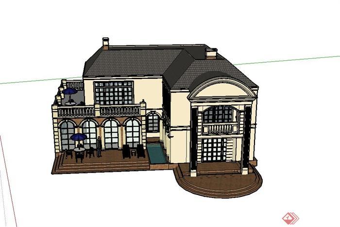 某欧式两层转角茶餐厅建筑设计SU模型,该建筑制作完整,模型是两层欧式茶餐厅建筑,模型制作细致,有材质贴图,具有一定的参考价值。
