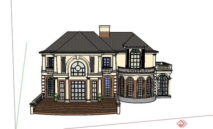 某欧式两层精致小别墅建筑设计su模型