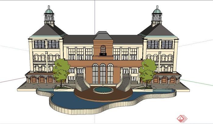 某欧式四层别墅建筑设计SU模型武大复试机械v别墅图片