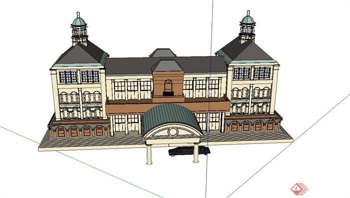 某欧式四层目的建筑设计SU小区别墅景观设计的论文模型图片