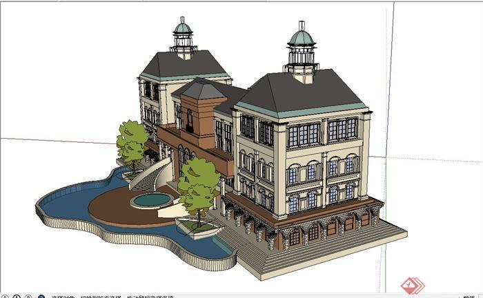 某欧式四层房屋建筑设计SU模型5米宽16米别墅设计图图片