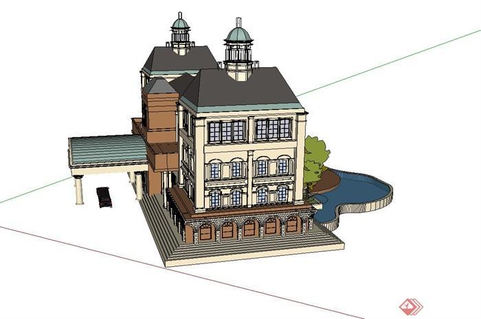 某欧式四层别墅建筑设计SU模型食堂前景观设计图片