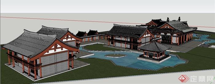 中式古建筑群设计su模型