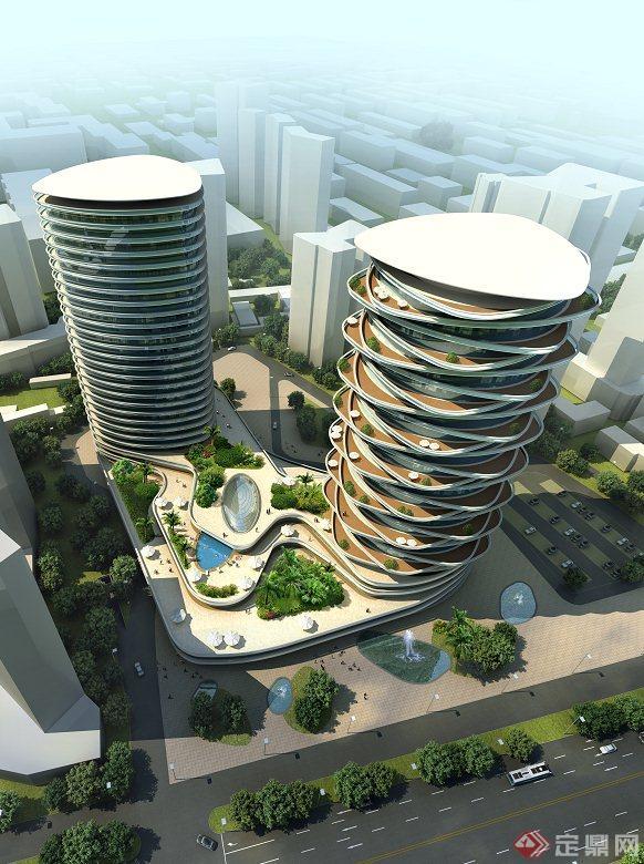 某现代基座相连两栋高层视频建筑设计3DMAX室内设计酒店观看图片