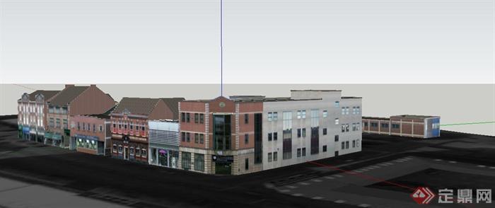 某欧式风格商业街道建筑设计su模型