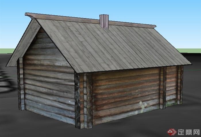 一间木屋建筑设计su模型