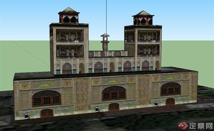 欧式风格多层建筑设计su模型