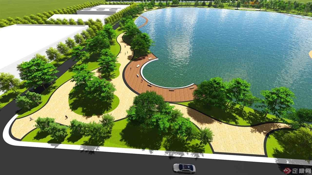包括了湖面景观,湖边景观,办公楼入口广场景观设计,景观主要围绕复绿
