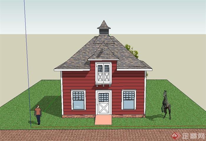 某欧式方形马厩设计SU模型,该建筑制作精致,模型有材质贴图,模型内容丰富,有建筑、植物、马、人,具有一定的参考价值。