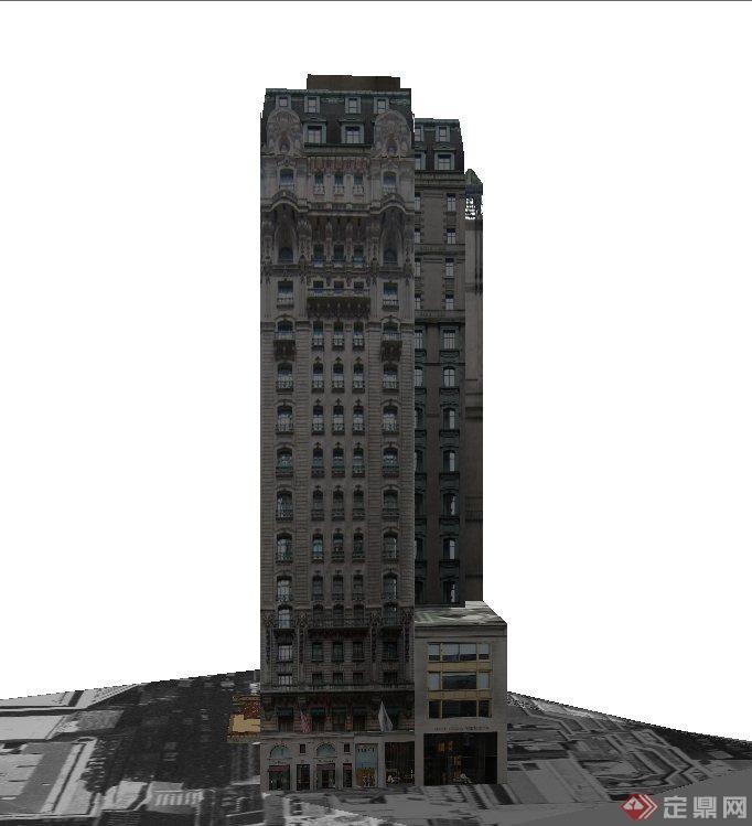 某欧式高层豪华酒店建筑设计su模型