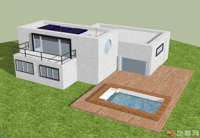 双层别墅私家建筑设计SU别墅扬州模型现代图片
