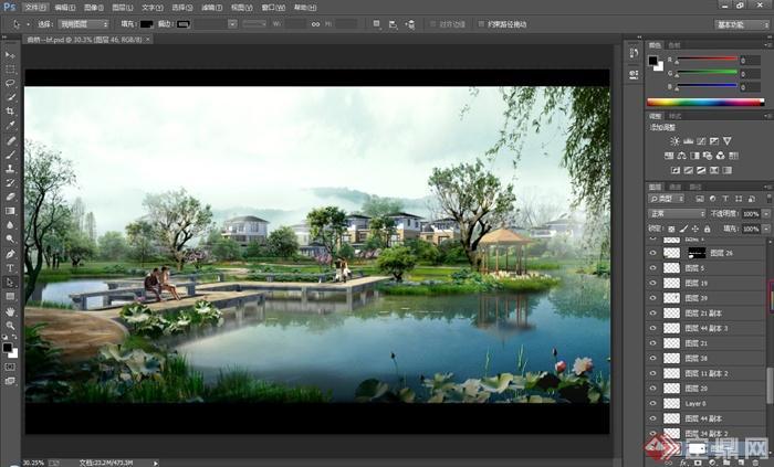 某公园曲桥水景景观设计psd效果图[原创]