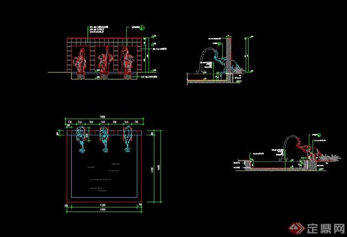 某景观节点涌水景墙设计CAD施工图