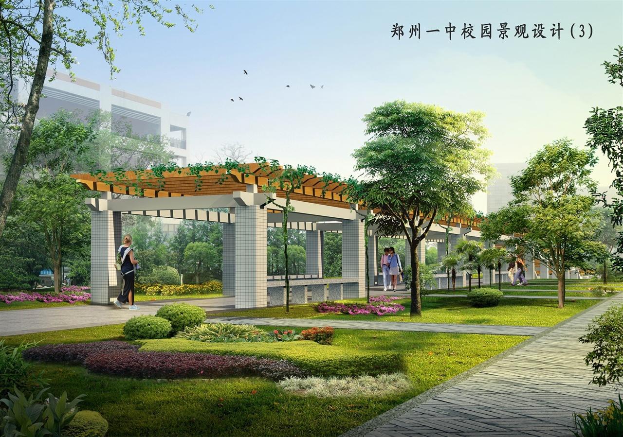 校园廊架效果图-郑州万象环境艺术设计有限公司