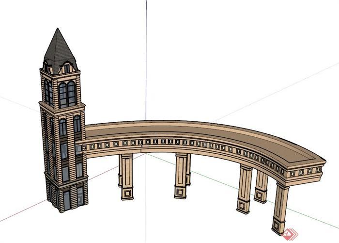欧式塔廊设计su模型