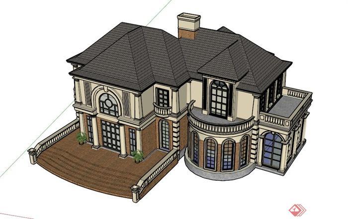 两层欧式别墅建筑设计su模型