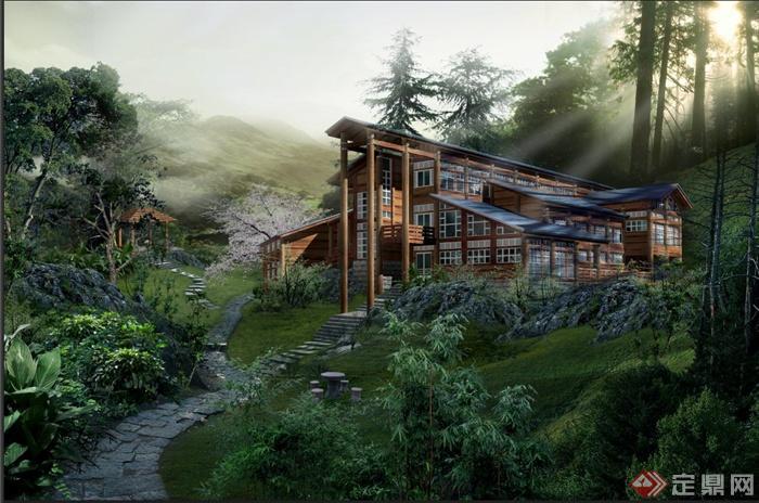 某温泉山庄景观设计psd效果图[原创]