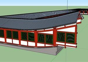 日式U型长廊SU(草图大师)模型