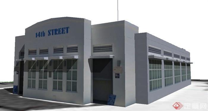 现代单层办公楼建筑设计su模型(1)