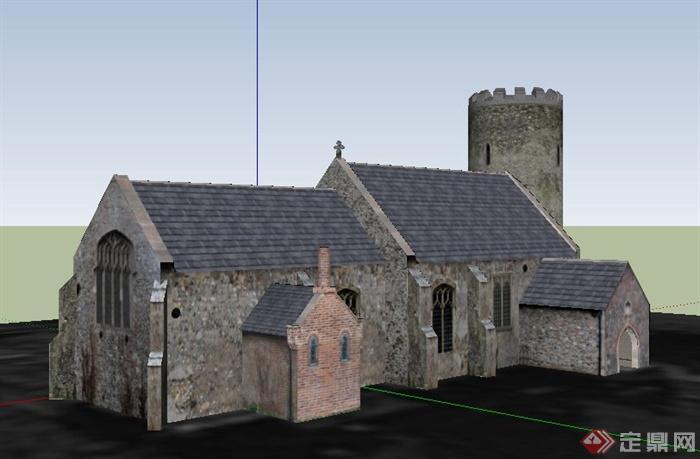 古欧式单层教堂建筑设计su模型