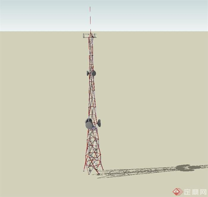 现代某铁艺信号塔建筑设计su模型