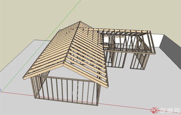 某木质单层住宅建筑框架设计su模型