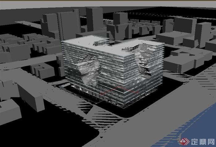 某现代多层镂空异形建筑设计3dmax模型与psd效果图