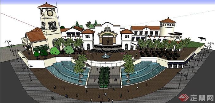 欧式风格商业街广场建筑景观su模型图片